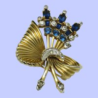 Early Signed Mazer Flower Bow Rhinestone Brooch Pin Gorgeous