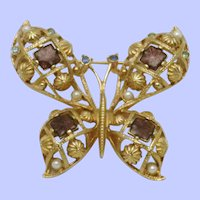 Vintage AVON Pearl Rhinestone Figural Butterfly Brooch Pin