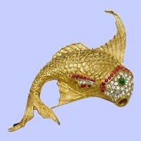 Vintage CINER Sailfish  Gold Plated  with Rhinestones Brooch Pin