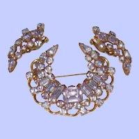 KRAMER of NEW YORK Alexandrite Color Changing Brooch Earring Demi Set