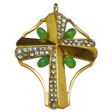 Vintage JOMAZ Cross Pendant Faux Jade Rhinestone Gold Plated