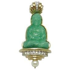 Avon of Belleville  Boucher Peking Glass  Buddha Brooch Pin