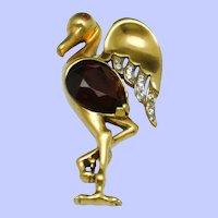 Vintage REJA STERLING  Gold Wash Figural Flamingo Brooch Pin