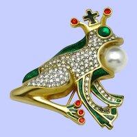 BUTLER & WILSON England Frog and Crown Prince Enamel Brooch Pin