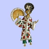 Classic and Scarce CINER Enamel and Rhinestone  Geisha Brooch Pin