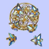 VOGUE  Brooch & Earrings  Demi Set Dimensional Blue AB Rhinestone