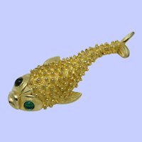 Vintage Signed CASTLECLIFF Brooch  Figural Gold Plated Fish Pin