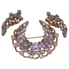 Rare KRAMER of NY Alexandrite Color Changing Brooch Earring Set