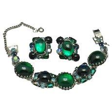 WEISS  Cabochon Rhinestone Emerald Green & Blue Bracelet Earrrings SET