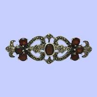 ART DECO  Sterling  Silver 925 Garnet Marcasite Bar Pin Brooch