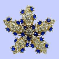 Signed SCAASI Bermuda Blue and Clear Rhinestone Star Brooch Pin Pendant