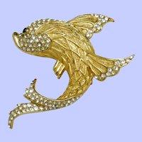 Large Signed CINER Rhinestone  Figural Fish Brooch Pin