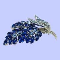 Vintage Signed AUSTRIA Floral Brooch Pin Shades of Blue