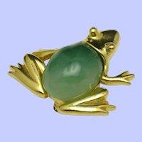 Vintage 1980s KJL Kenneth Jay Lane Faux Jade Frog Brooch Pin