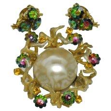 Rare SCHIAPARELLI  Rivoli Rhinestone Pearl Brooch Earring Pendant SET