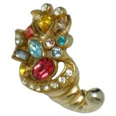 Petite Cornucopia Figural Rhinestone Gold Plated Pin Brooch