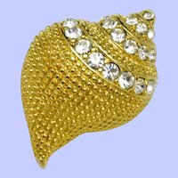 KJL Gold Plated Rhinestone Conch Shell Brooch Pin and Pendant