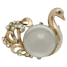 Rare CORO STERLING Jelly Belly  Swan Brooch Pin 1945 Patent 140,945
