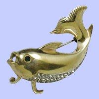 MAZER STERLING Vintage 1940s Figural Fish Brooch Pin