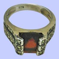 ART DECO  Sterling  Silver 925 Garnet Marcasite Ring
