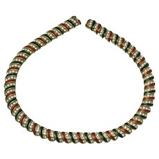 Vintage 1980s Choker Necklace  Enamel, Gold Plated with Rhinestones