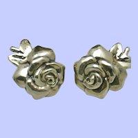 YAACOV HELLER Sterling Silver Vintage Puffy Rose Clip Earrings