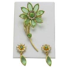Pretty Vintage Glass & Rhinestone Flower Brooch and Earring Set