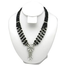 Triple Strand Black Faceted Beads Rhinestone Floral Pendant Choker Necklace