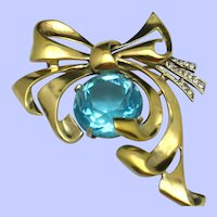 Gorgeous 1940s STERLING BOW with Aqua Crystal Stone Brooch Pin