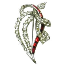 Gorgeous Vintage 1950s Boucher Ruby and Ice Crystals Ribbon  Brooch