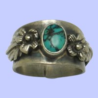 CAROL FELLEY Sterling Silver Turquoise Ring Embellished with Flowers