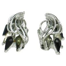CORO Smoke, Black Silver Plated Rhinesone Navette Clip Earrings