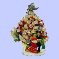 STANLEY HAGLER Christmas Tree  Brooch Pin Cabochon Crystal Hand Beaded