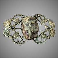 Antique Art Glass Scarab Brooch