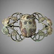 Antique Art Glass Scarab Brooch