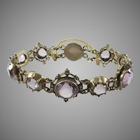 Antique Amethyst, Seed Pearl, and Gilt Silver Bracelet
