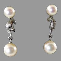 Vintage Cultured Pearl and Sterling Earrings