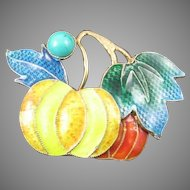 Enameled Chinese Brooch with Turquoise Cabochon