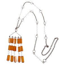 Modernist Amber and Silver Necklace from the Soviet Union