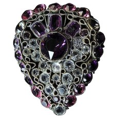 Early Hobe Filigree Brooch in Pink and Purple