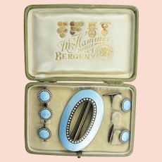 Marius Hammer Boxed Set of Buckle, Cufflinks, and Buttons in Pale Blue Enamel