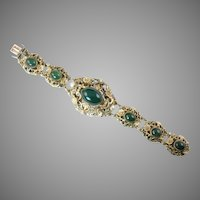 Austro-Hungarian Bracelet with Green Stones and Pearls
