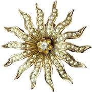 Edwardian Seed Pearl, Diamond, and 12 Karat Gold Sunburst Brooch Pendant