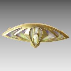 Antique Plique a Jour Brooch in 8 Karat Gold