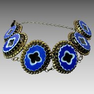 Rare Victorian Gilt Cut Steel Bracelet with Carved Art Glass Plaques