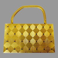 Elegant Evans Gold Tone Minaudiere Purse Compact