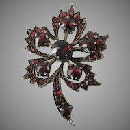 Victorian Garnet Flower or Leaf Brooch