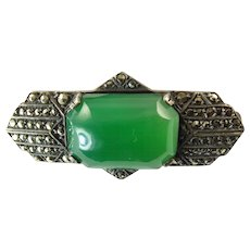 Art Deco Chrysoprase, Silver, and Marcasite Brooch