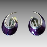 Purple Enamel Earrings by Norwegian Modernist Hans Myhre