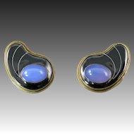 Studio Chalcedony Earrings set in Silver, Brass, and Black Resin